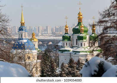 Vydubitskii monastery in Kiev, Ukraine, in winter, snow scenes in a big city