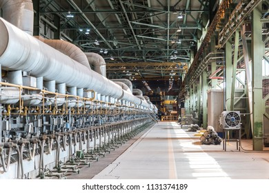 VYKSA, NIZHNY NOVGOROD REGION - 14 april 2018: The process of preparation and storage of the finished metal casting and rolling complex in the Vyksa metallurgical plant