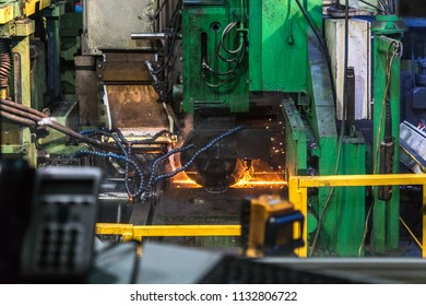 VYKSA, NIZHNY NOVGOROD, RUSSIA - 14 april 2018: The full cycle of works of the pipe-electric welding complex for the production of large-diameter pipes