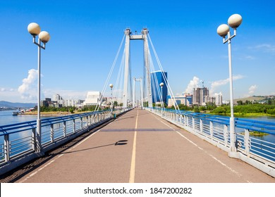 Vynogradovskiy Bridge is a cable-stayed bridge over the canal of the Yenisei, leads to Tatyshev island in Krasnoyarsk, Russia