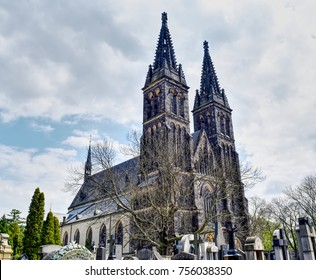 The Vysehrad cathedral with its ancient cemetery. HDR effect.