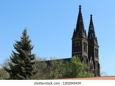 The Vysehrad cathedral, Basilica of St. Peter and St. Paul in Prague with blue sky background