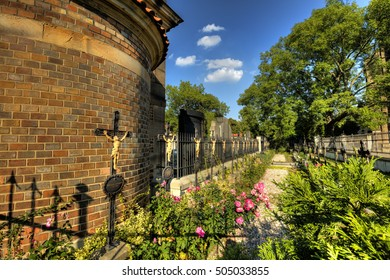 The Vysehrad cemetery with famous the Slavin tomb, designed by Antonin Wiehl. Final resting place of many czech and other famous composers, artists, sculptors, writers etc.