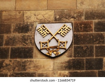 A Vysehrad Chapter as small blazon on wall stone in prague. Czech republic. Old wall