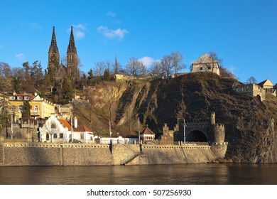 Vysehrad. View of the Cathedral of Saints Peter and Paul and the tunnel. Prague. Czech Republic
