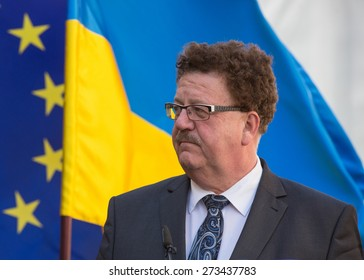 VYSHNEVE, UKRAINE - APRIL, 28, 2015: Parliamentary State Secretary to the Federal Minister for Economic Cooperation and Development (Germany) Hans-Joachim Fuchtel in Vyshneve near Kiev on April 28