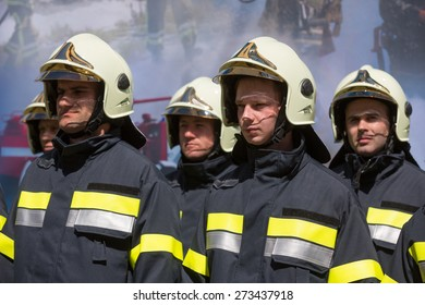 VYSHNEVE, UKRAINE - APRIL, 28, 2015: Ukrainian firemen in uniform, transferred by Germany as part of a batch of humanitarian aid