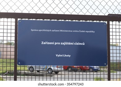 VYSNI LHOTY, CZECH REPUBLIC - OCTOBER 18, 2015: Gateway detention camp for refugees in Vysni Lhoty, not allowed entry, guarded area. east Czech Republic, Europe, EU