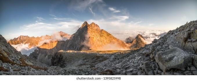 Vysoka Peak with Inversion in Golden Light in High Tatras, Slovakia