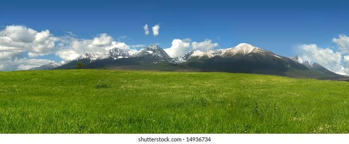 Vysoke Tatry (High Tatras), Slovakia in spring - panoramatic