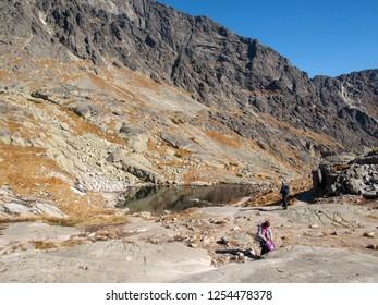 Vysoke Tatry, Slovakia - October 11, 2018: Valley of Five Spis Lakes. High Tatra Mountains, Slovakia.
