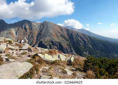 Vysoke Tatry, Slovakia - October 9, 2018: Great Cold Valley in Vysoke Tatry (High Tatras), Slovakia. The Great Cold Valley is 7 km long valley, very attractive for tourists