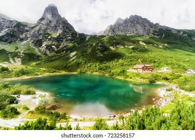 VYSOKE TATRY, SLOVAKIA - SEPTEMBER 5: Mountain cottage Chata pri Zelenom plese on September 5, 2017 in Vysoke Tatry