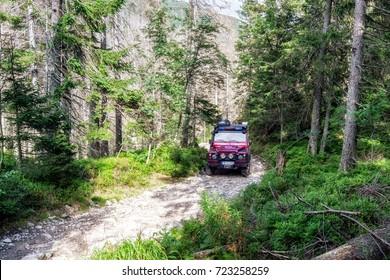 VYSOKE TATRY, SLOVAKIA - SEPTEMBER 5: Mountain rescue service  jeep on September 5, 2017 in Vysoke Tatry