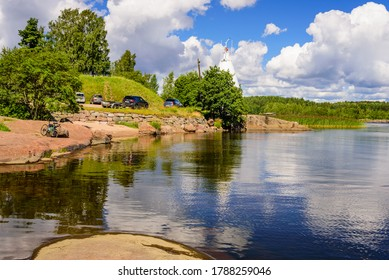 Vysotsk town, Leningrad region, Russia - July 26, 2020: Beautiful summer seascape. The picturesque coast of the Gulf of Finland, Baltic sea, near Vysotsk town, Leningrad oblast, Russia