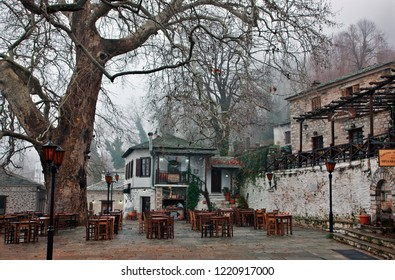 VYZITSA VILLAGE, GREECE- January 18, 2010. The square of  one of the most beautiful villages of Pelion mountain, Magnesia, Thessaly.