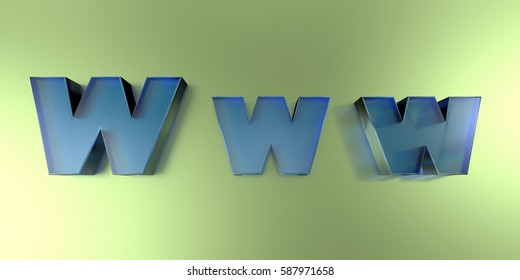 W w w - colorful glass text on vibrant background - 3D rendered royalty free stock image.