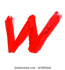 W - Red handwritten  letters on white  background. Acrylic  colors.