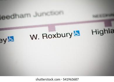 W. Roxbury Station. Boston Metro map.