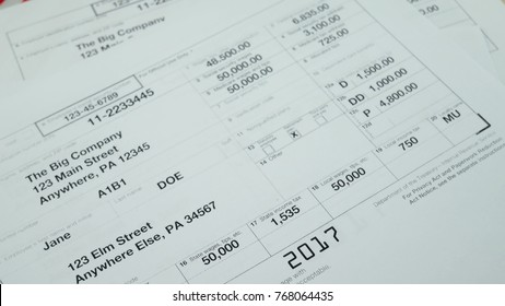 W-2 tax form Copy A 2017 for woman person Jane Doe turns with american usa flag. Wage and tax statement