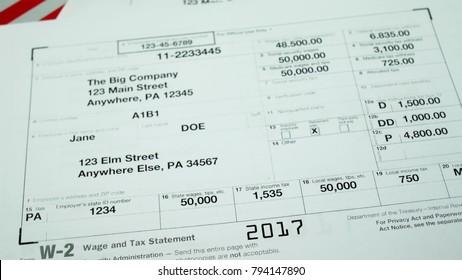 W-2 tax form Copy A 2017. Wage and tax statement