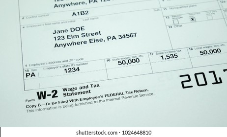 W-2 tax form Copy B 2017 for woman person Jane Doe turns with american usa flag. Wage and tax statement