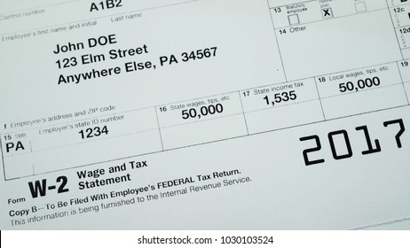 W2 tax form Copy B 2017 for man person John Doe with american usa flag. Wage and tax statement
