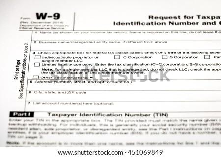 W 9 Tax Form Stock Photo Edit Now 451069849 Shutterstock