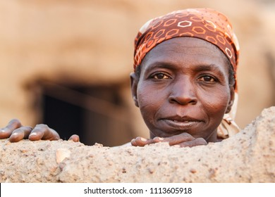 Wa, Ghana - December 28, 2011: Portrait of a woman from the Lobi tribe in het small village near Wa in the North West of iGhana