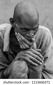 Wa, Ghana - December 28, 2011: Portrait of an old blind man from the Lobi tribe in het small village near Wa in the North West of iGhana
