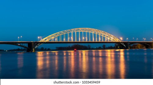 Waal bridge at Nijmegen at night.