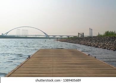The Waal in Front of a bridge In the Dutch city  Nijmegen