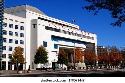 WAASHINGTON, DC - NOV17, 2012:  The Canadian Embassy at 501 Pennsylvania Avenue NW designed by Vancouver architect Arthur Erickson
