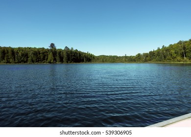 Wabana Lake, part of the Minnesota Itasca chain of lakes, shoreline looking into the shoreline from a boat