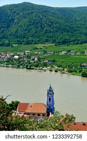 Dürnstein, Wachau, Austria. View over the  church and the Danube from the castle.
