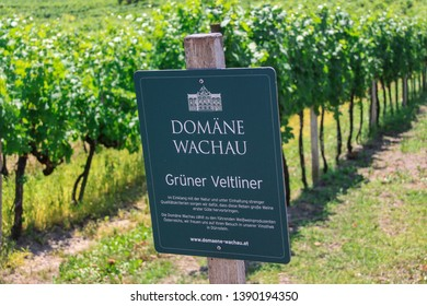Wachau, Lower Austria/Austria - July 2012: Vineyards view with a sign on which the name of the area