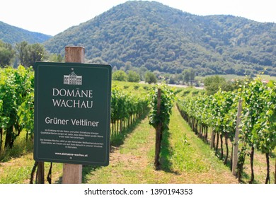 Wachau, Lower Austria/Austria - July 2012: Vineyards landscape view with a sign on which the name of the area