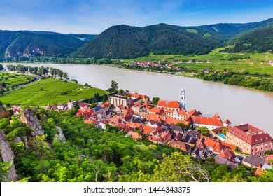 Wachau Valley, Austria. The medieval town of Durnstein along the Danube River.