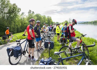WACHAU VALLEY,AUSTRIA-MAY 8,2015:People are riding bcycle at cycle path near danube river in Austria during a sunny day