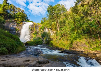 Wachirathan Water fall at Doi intanon Chiangmai of Thailand.
