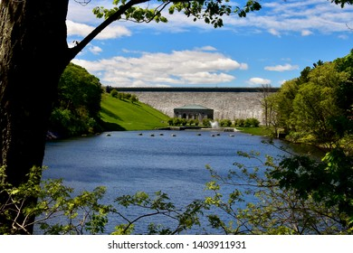 Wachusett Dam on Wachusett Reservoir in Clinton, Massachusetts in Worcester County, USA