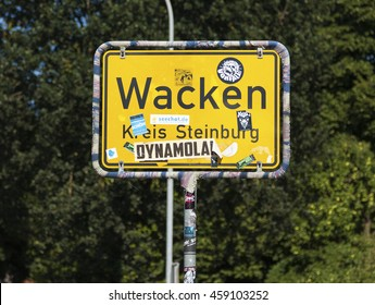 Wacken, Germany - July 20, 2016: City limits sign of Wacken, home of annual ??Wacken Open Air??, world'??s largest Metal music festival.