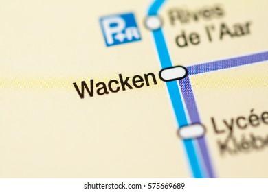 Wacken Station. Strasbourg Metro map.
