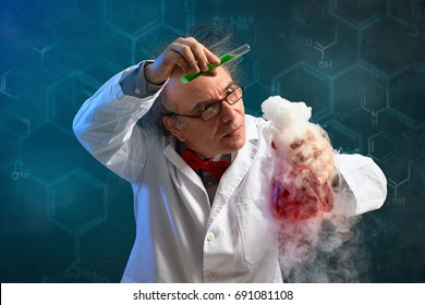 Wacky chemist carefully performed experiment with red toxic chemical and smoke