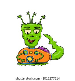 Wacky, Crazy space alien or monster cartoon. Green skin and a long tail. Isolated on white. Computer graphic comic original illustration.