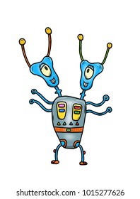Wacky, Crazy space alien or monster cartoon with two heads and blue skin. Isolated on white. Computer graphic comic original illustration.