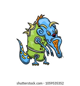 Wacky, Crazy space alien or monster cartoon. Blue skin and wearing green clothes. Computer graphic comic original illustration.