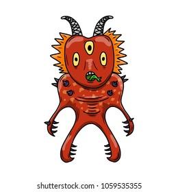 Wacky, Crazy space alien or monster cartoon. Red skin and three eyes. Computer graphic comic original illustration.