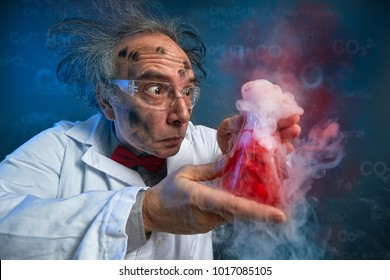 wacky scientist with explosive experiment, funny chemist