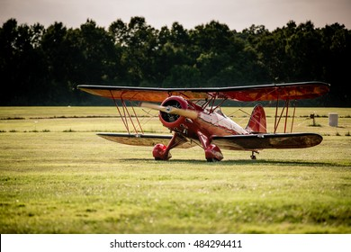 Waco biplane after landing at the 2016 Flying Circus Airshow in Bealeton, Virginia